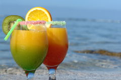 Cocktails of love on the beach Stock Image