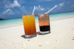 Cocktails in the Maldives Stock Photo
