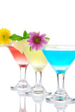 Cocktails martini row with vodka Stock Photos