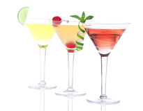 Cocktails martini yellow, red and orange Stock Photos