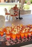 Cocktails with melon pieces at tropical resort. Holiday concept. Bright cocktails with melon pieces at tropical resort. Holiday concept. Drink in vacations royalty free stock photos