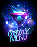 Cocktails menu with burning cocktail and disco sparkles Stock Image