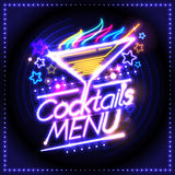 Cocktails menu card design, neon lights style Royalty Free Stock Images