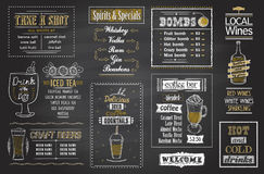 Cocktails menu chalkboard set, hand drawn posters. For tea, coffee, spirits cocktails, shots, bombs, craft beers and lokal wine stock illustration