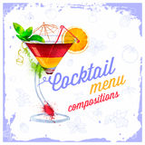 Cocktails menu drawn watercolor. Stock Image