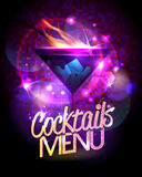 Cocktails menu vector design with burning cocktail. Stock Photography