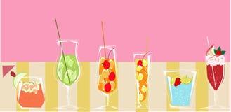 Cocktails met roze achtergrond royalty-vrije illustratie