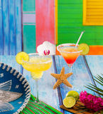 Cocktails mexican Margarita and sex on the beach in Caribbean Royalty Free Stock Photo