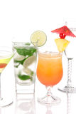 Cocktails mojito;Martini, Tequila sunrise Stock Photo