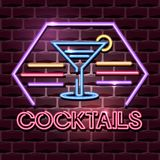 Cocktails neon advertising sign royalty free illustration