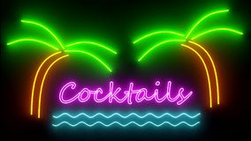 Cocktails neon sign lights logo text glowing multicolor cocktail stock video footage
