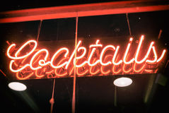 Cocktails Neon Sign Vintage Royalty Free Stock Photo