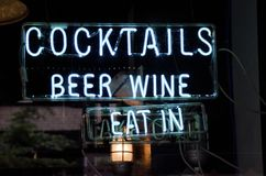 Cocktails Neon Sign Stock Images
