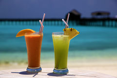 Cocktails On A Tropical Island Royalty Free Stock Photos