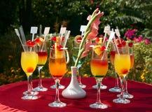 Cocktails op de rode lijst Royalty-vrije Stock Foto's