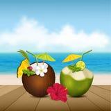 Cocktails op het strand Royalty-vrije Stock Afbeeldingen