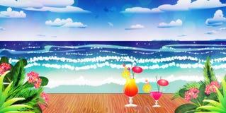 Cocktails op pier stock illustratie