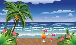 Cocktails op pier royalty-vrije illustratie