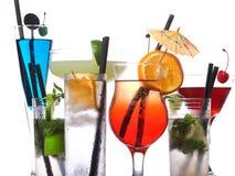 Cocktails op wit Stock Afbeelding