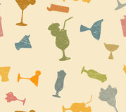 Cocktails pattern. Scratchy cocktails popart pattern background Stock Photography