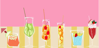 Cocktails with pink background Royalty Free Stock Photos