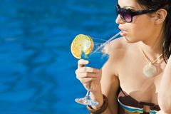 Cocktails By The Pool Stock Image