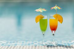 Cocktails by he pool Stock Photography