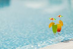 Cocktails by the pool Stock Photography