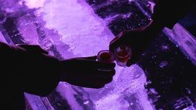 Cocktails potables de personnes des verres se reposant dans la barre créative de glace, la vie de nuit clips vidéos