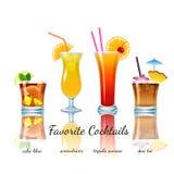 Cocktails préférés réglés, d'isolement Image stock