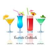 Cocktails préférés réglés, d'isolement Photographie stock