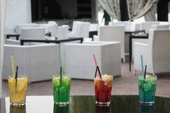 Cocktails at restaurant. Four different cocktails on a bar Stock Image