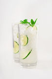 Cocktails with rum in tall glass with ice, lime. mint Stock Photography