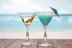 Cocktails on the sea background Royalty Free Stock Photo