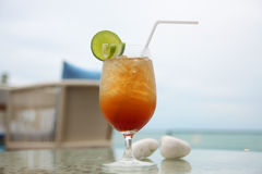 Cocktails by the sea. Cocktails at The Huahin Beach Thailand Stock Photos