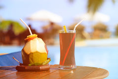 Cocktails served on luxury tropical resort in Maldives Royalty Free Stock Image