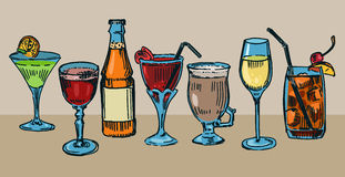 Cocktails. Set of colorful drawn cocktails Royalty Free Stock Photography