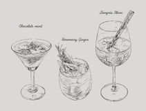 Cocktails - set of hand-drawn drinks, chocolate mint , Ginger ro. Semarry, Sangria Blanc Royalty Free Stock Photo