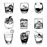 Cocktails set. Vector glasses collection. drinking whiskey party menu Stock Photo