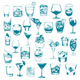 Cocktails set. Vector glasses collection. drinking whiskey party menu Stock Image