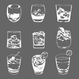 Cocktails set. Vector glasses collection. drinking whiskey party menu Stock Photos