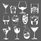 Cocktails set. Vector glasses collection. drinking whiskey party menu Royalty Free Stock Photos