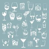 Cocktails set. Vector glasses collection. drinking Royalty Free Stock Photos