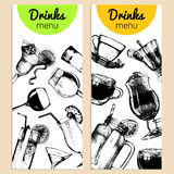 Cocktails, soft drinks and glasses for bar,restaurant,cafe menu.Hand drawn different beverages vector illustrations set. Stock Images