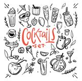 Cocktails and soft drinks hand drawn vector illustration. vector illustration