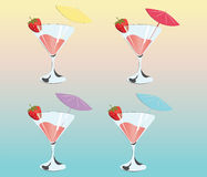 Cocktails with strawberries. Summer Sun Party background. Vector Royalty Free Stock Photo