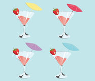 Cocktails with strawberries. Summer Sun Party background. Vector Royalty Free Stock Images