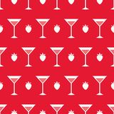 Cocktails and strawberry. Seamless pattern with summer cocktails, flat design Royalty Free Stock Image