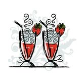 Cocktails with strawberry, sketch for your design Royalty Free Stock Photo