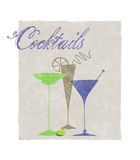 Cocktails Stylized Retro Drinks With Typography Stock Images